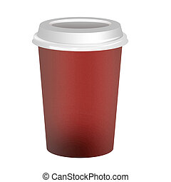 Takeaway coffee cup over white background
