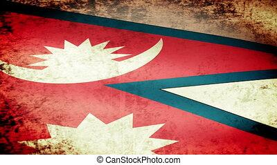 Nepal Flag Waving, grunge look