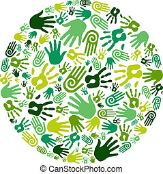 Go green hands circle - Go green human hands icons in circle...
