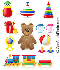 icon of toys and accessories for babies and children vector...