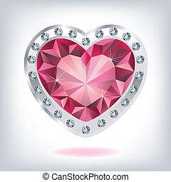 Ruby heart in diamonds