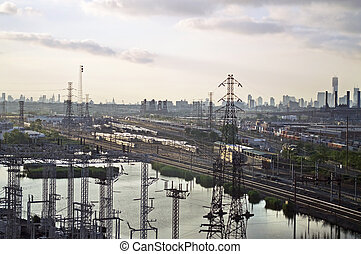 New Jersey Train Yard - An industrial view along the New...