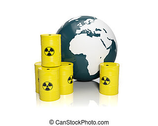 3d illustration: muddy ground nuclear waste. Barrels of nuclear waste and the model of the earth on a white background