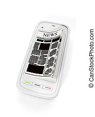 3d illustration: Mobile phone with open pages. E-book