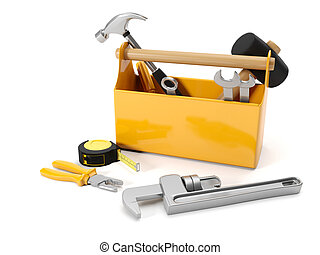 3d illustration: repair services. Tool box on a white...