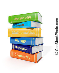 3d illustration: Secondary School Textbooks on a white...
