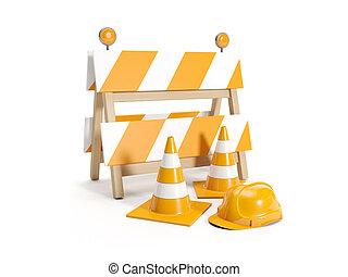 3d illustration: Repair roads, replacing the road signs