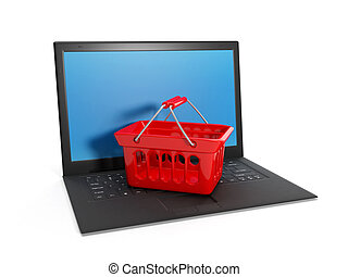 3d illustration: Buying over the Internet, online Laptop...