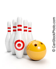 3d illustration: Sport. Bowling ball and bowling on a white...