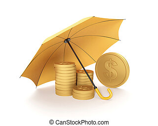 3d illustration: Protecting funds, insurance Umbrella covers...