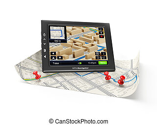 3d illustration: GPS navigator and map. Finding a new route...