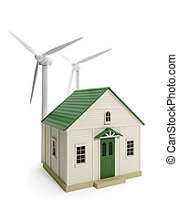 3d illustration: Toy house and windmills on a white...