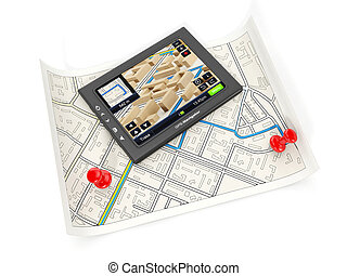 3d illustration: The GPS navigator and the card on a white...