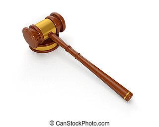 3d illustration: Judicial hammer, Solution of judicial...