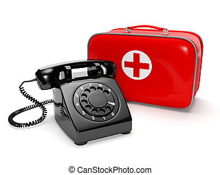 3? illustration: Call of the doctor, medical care. Phone with the first-aid kit on a white background