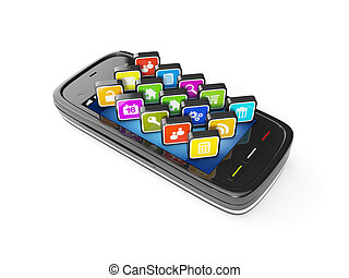 3d illustration: Mobile phone and computer icons on white...
