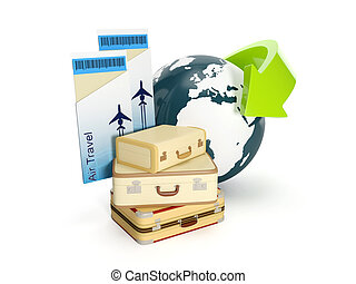 3d illustration: Travel holiday The suitcase and the earth...