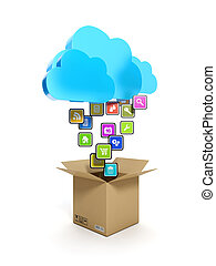 3d illustration: Downloading mobile icons. A blue cloud and a box with icons on a white background