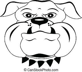 cabeza, perro, caricatura
