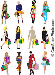 many girls with shopping