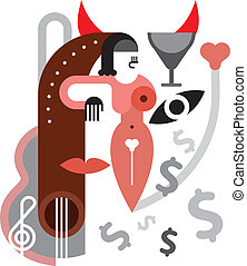 Party - abstract vector illustratio - Desire. Music, drink...