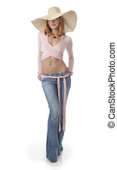 Young beautiful woman in a straw hat isolated on white...