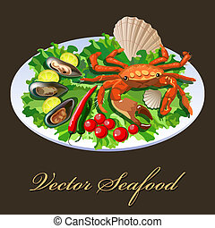 Crab in salad - Crab in the dish with salad, tomatos and...