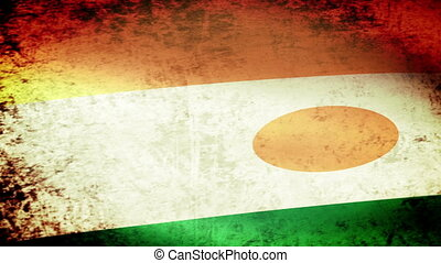 Niger Flag Waving, grunge look