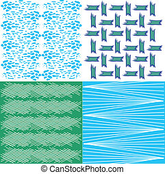 Retro seamless pattern - Vector set of four different retro...