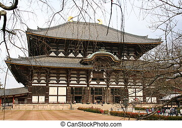Nara temple, japan - Entire view of Nara temple in japan