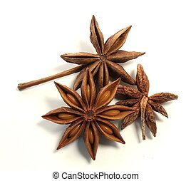 Three anis star - Bunch of anis stars on white background