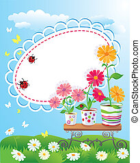 Summer frame with flowers in pots, ladybirds and butterflies...