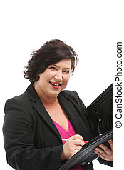 Efficient personal assistant smiling attentively as she...
