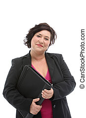 Friendly smiling businesswoman - Friendly smiling plump...