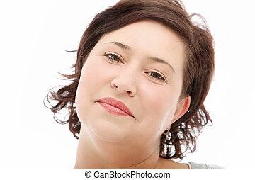 Close up portrait of positive woman