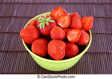 strawberry - bunch of red strawberries isolated over white