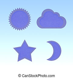 Icon star,sun,moon,cloud,recycled papercraft