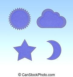 icono, estrella, sol, luna, nube, reciclado, papercraft
