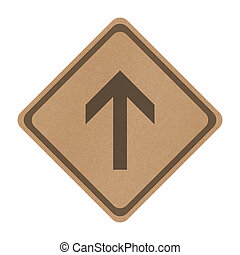 Recycle paper go straight direction traffic sign isolated on...