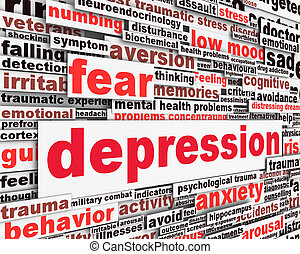 Depression message concept isolated on white background. Low...
