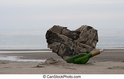message in a bottle and a lost heart on the beach