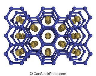 Isolated Magnesium diboride - Rendered image of structure of...