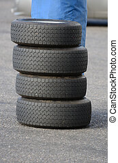 Pile of race tyres