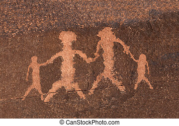 Petroglyph Rock Art Family - Ancient petroglyph family...