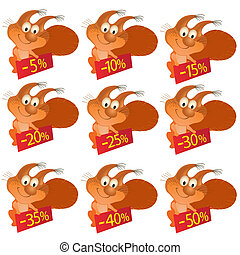 Set of little funny Squirrels with discount boards