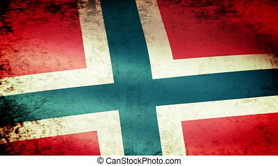 Norway Flag Waving, grunge look