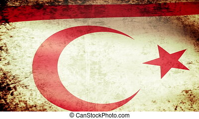 Northern Cyprus Flag Waving, grunge look