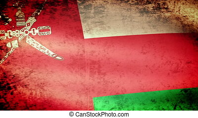 Oman Flag Waving, grunge look