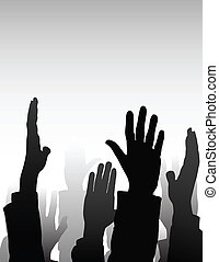 votes - many hands of people,election or business concept