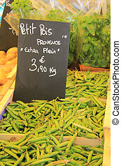 tic beans or fava beans on a french market